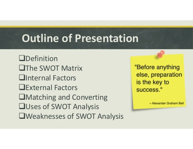 swot factor analysis The important point to take away is that the right question will help to produce a really valuable swot analysis strengths(internal factor / positive influence.