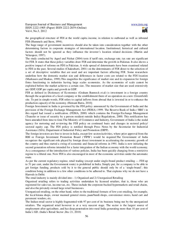 Determinants of fdi in india