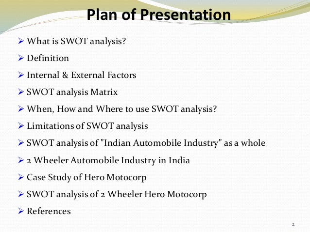 swot analysis in case of automobile industry Conducting a swot analysis will give your dealership a clear sense of the   dealerships might need to adjust quickly to changing market forces to make  sales.