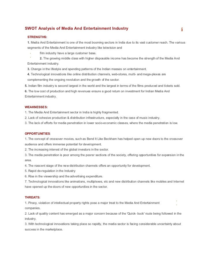 swot analysis of tv industry Doing a swot analysis helps a company to assess itself honestly and effectively, as well as take stock of its competition and the industry itself a well-done swot analysis can help a company be more competitive when it comes to business decision.