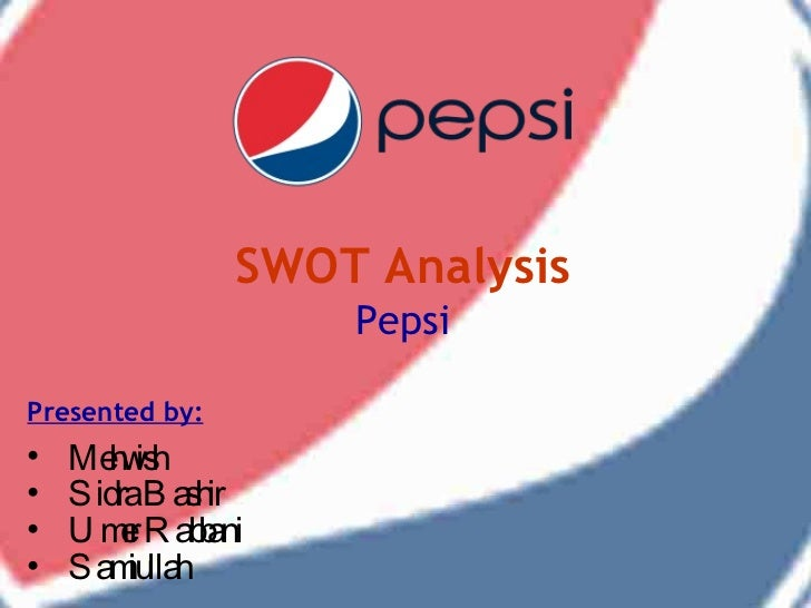 "pepsi mission and swot analysis According to the oxford dictionary a swot analysis is ""a study undertaken by an organization to identify its internal strengths and weaknesses, as well as its external opportunities and."