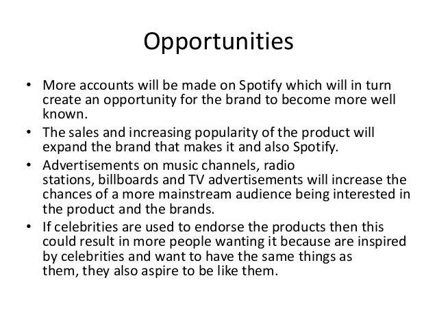 swot analysis in spotify Spotify case study how spotify built a $5 billion business with more than 50 million subscribers spotify is a streaming music service originally developed in 2006 in sweden and launching in 2008 spotify ltd now operates as the parent company in london while spotify ab manages research and development in stockholm.