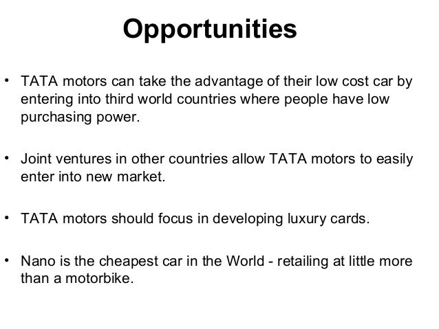 swot analysis of tata power Tata motors porters five model and pest  sector analysis  case buyer have the high bargaining power like tata which have its own steel plants.