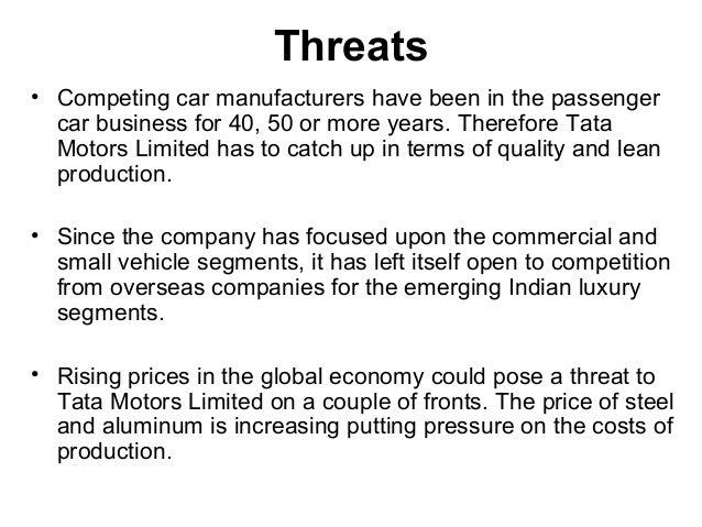 tata motors swot analysis Tata motors - free download as pdf file (pdf), text file (txt) or read online for free.