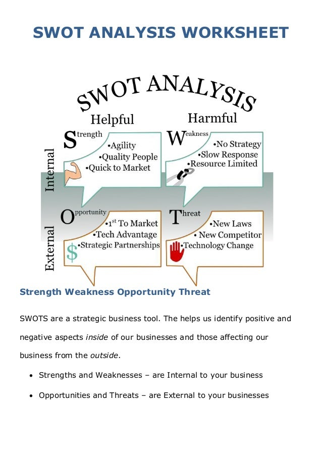 SWOT Analysis Worksheet @urban renstrom