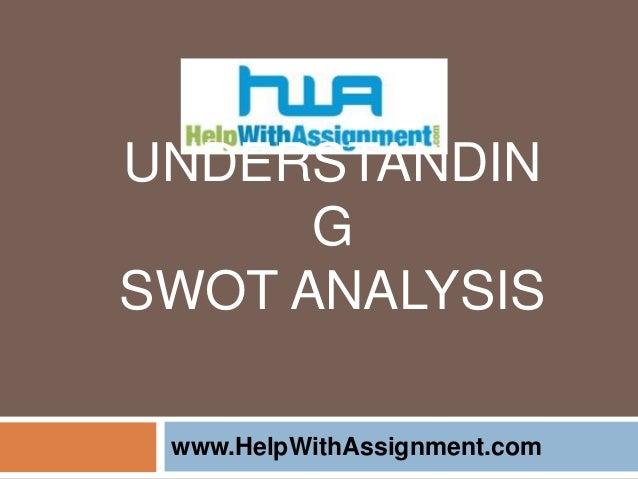 UNDERSTANDIN G SWOT ANALYSIS www.HelpWithAssignment.com