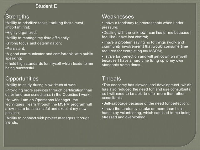 swot examples pm 401