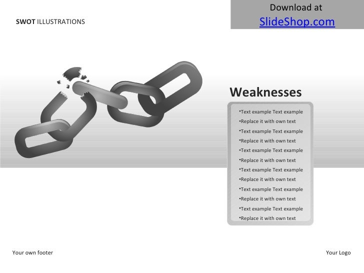 SWOT  ILLUSTRATIONS Your own footer Your Logo Weaknesses <ul><li>Text example Text example </li></ul><ul><li>Replace it wi...