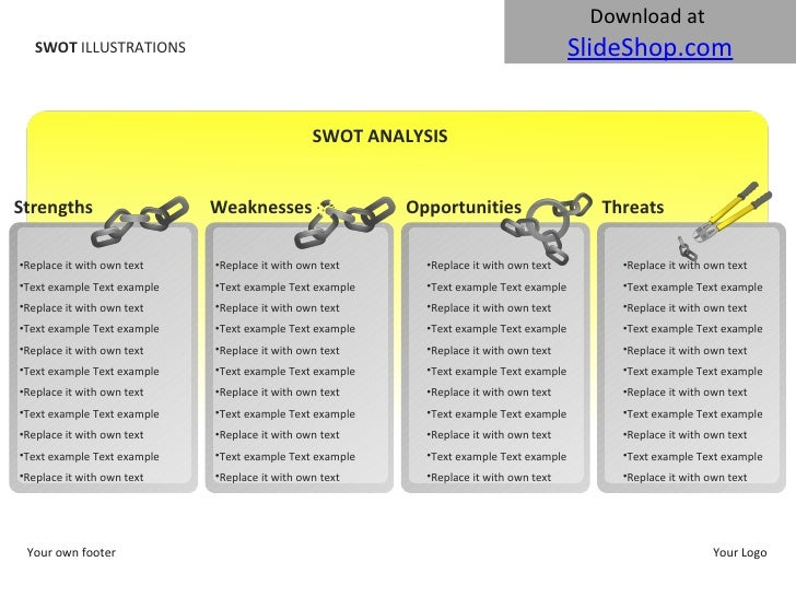 SWOT  ILLUSTRATIONS Your own footer Your Logo SWOT ANALYSIS Strengths <ul><li>Replace it with own text </li></ul><ul><li>T...