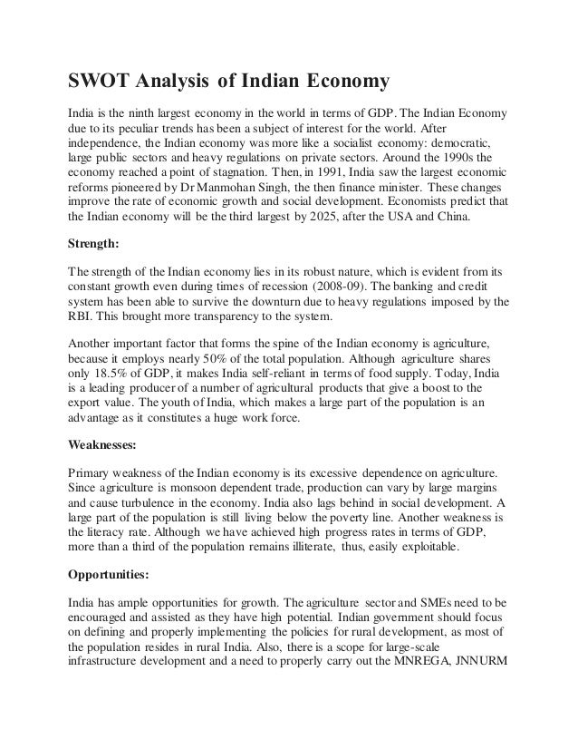 india swot analysis Submitted by:- anu arora harpreet kaur reema puniani rohit  chander singh shweta sharmaswot analysis for.