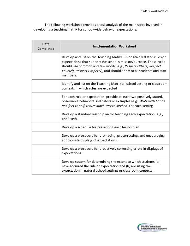 Swpbs team workbookverapr2720104 – In School Suspension Worksheets