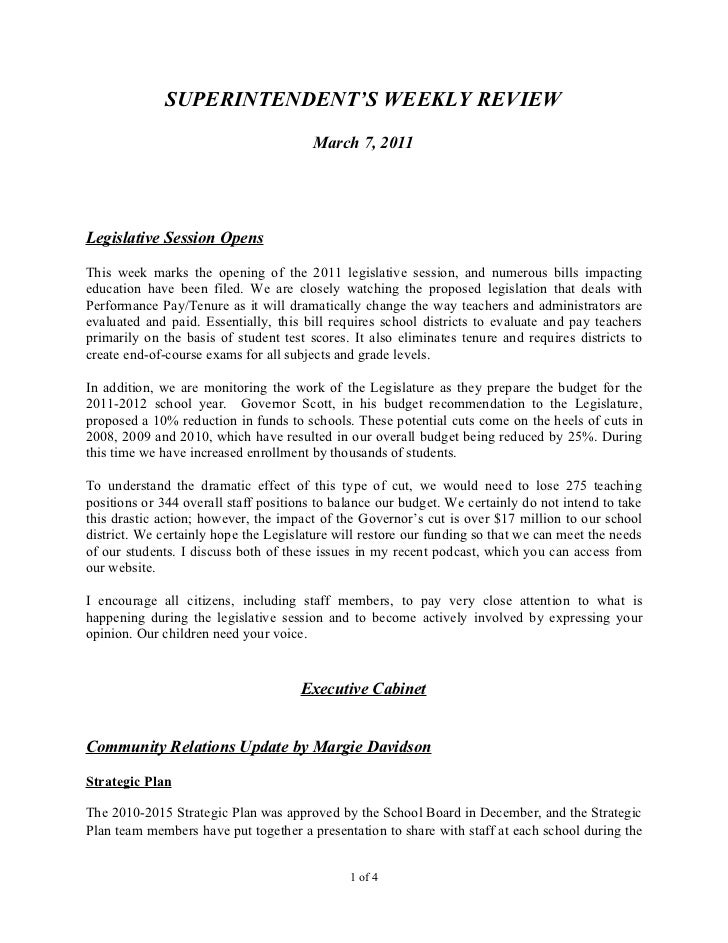 SUPERINTENDENT'S WEEKLY REVIEW                                        March 7, 2011Legislative Session OpensThis week mark...