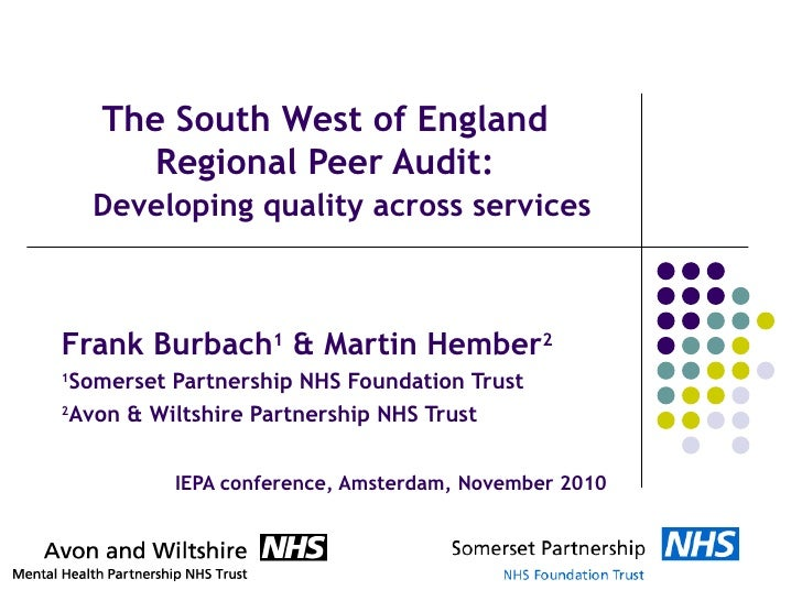 The South West of England Regional Peer Audit:   Developing quality across services   Frank Burbach 1  & Martin Hember 2 1...