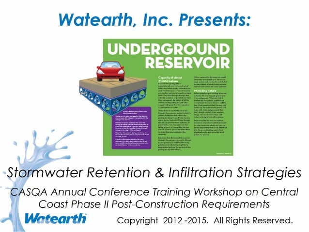 Watearth Stormwater Retention and Infiltration Strategies