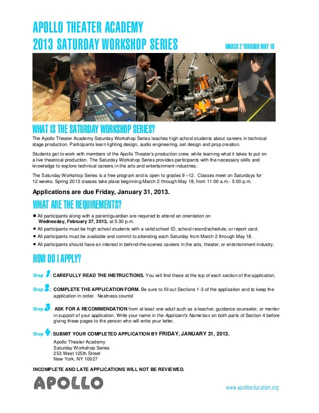 APOLLO THEATER ACADEMY2013 SATURDAY WORKSHOP SERIES                                                                  MARCH...