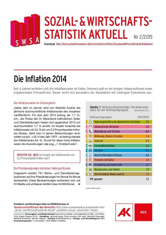 Die Inflation 2014 Seit 4 Jahren befinden sich die Inflationsraten im Fallen. Dennoch gibt es bei einigen Indexpositionen ...
