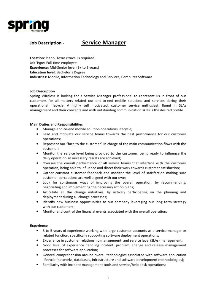project director job description customer service manager resume