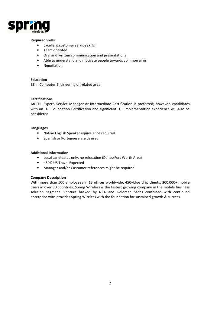 Spring Wireless  Service Manager Job Description