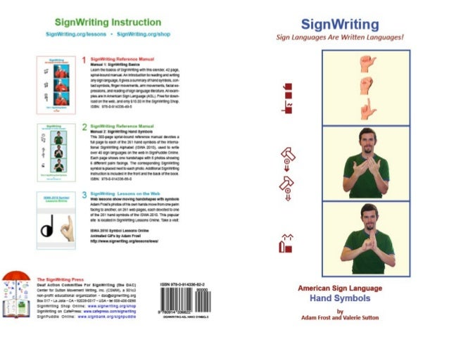 American Sign Language Hand Symbols Signwriting Manual