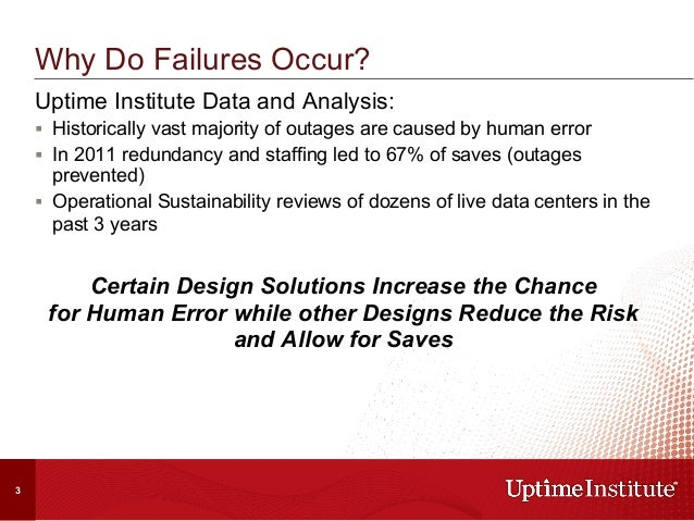 Uptime Institute Data and Analysis: § Historically vast majority of outages are caused by human error § In 2011 redund...