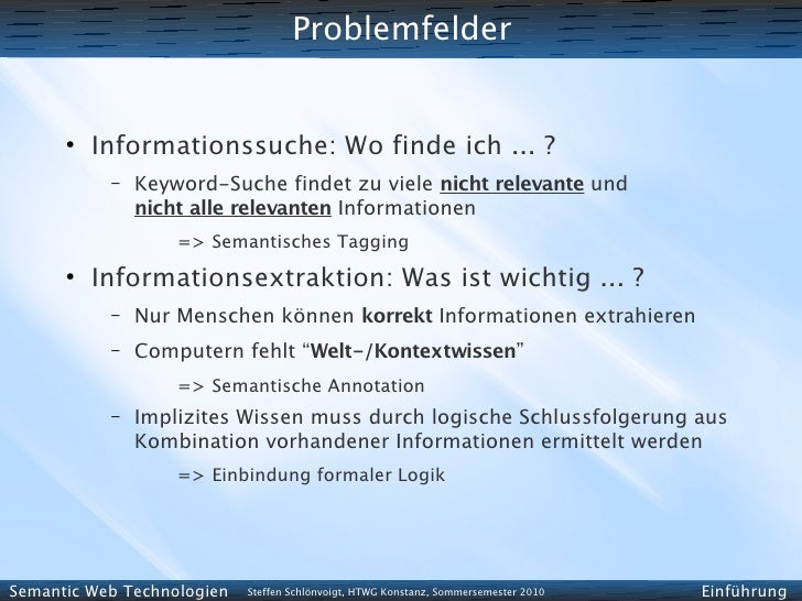 Problemfelder         ●           Informationssuche: Wo finde ich ... ?            –   Keyword-Suche findet zu viele nicht...