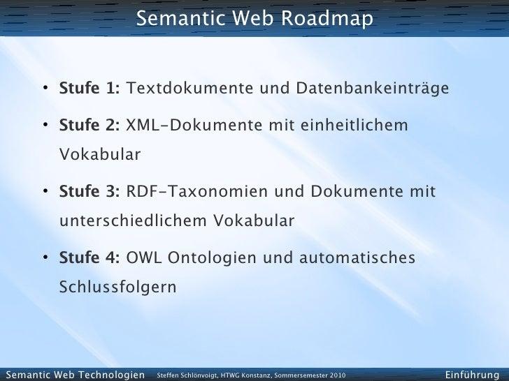 Semantic Web Roadmap         ●           Stufe 1: Textdokumente und Datenbankeinträge       ●           Stufe 2: XML-Dokum...