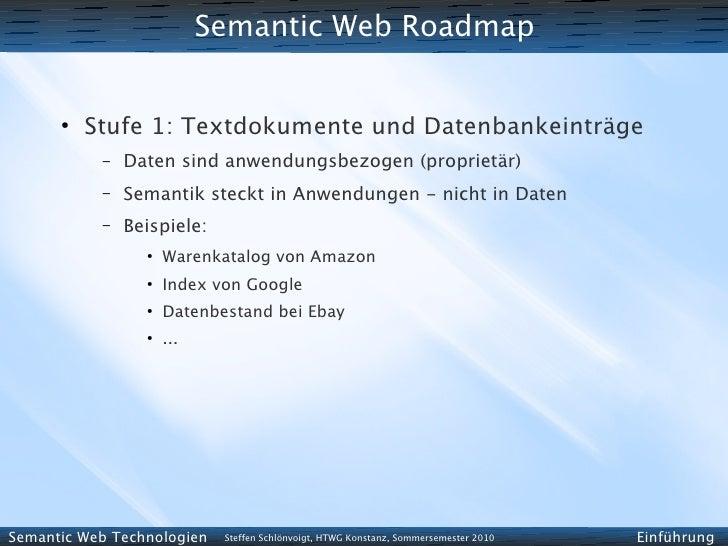 Semantic Web Roadmap         ●           Stufe 1: Textdokumente und Datenbankeinträge            –   Daten sind anwendungs...