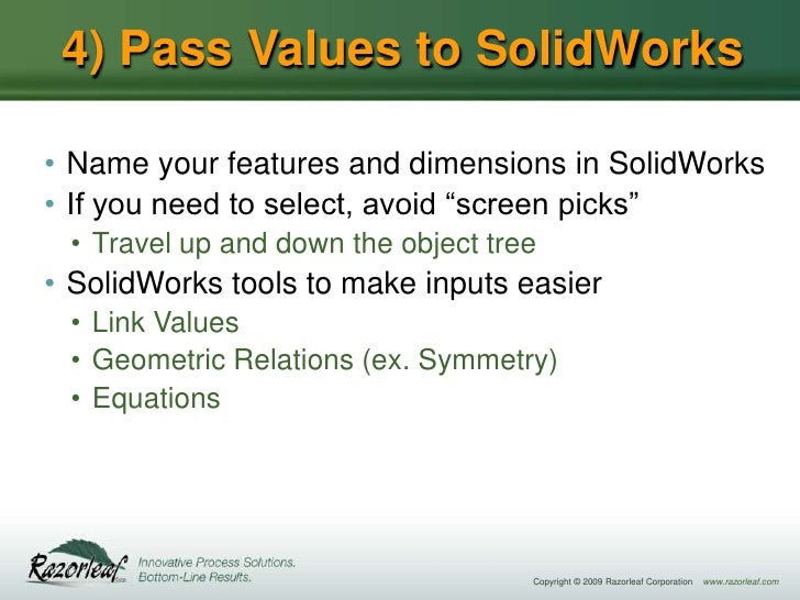 SolidWorks Design Automation Using the SolidWorks API