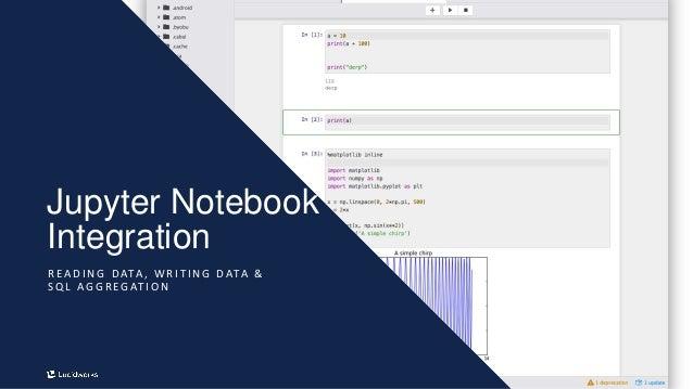 12 Jupyter Notebook Integration R E A D I N G D ATA , W R I T I N G D ATA & S Q L A G G R E G AT I O N