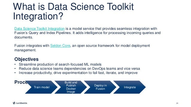 24 What is Data Science Toolkit Integration? Data Science Toolkit Integration is a model service that provides seamless in...
