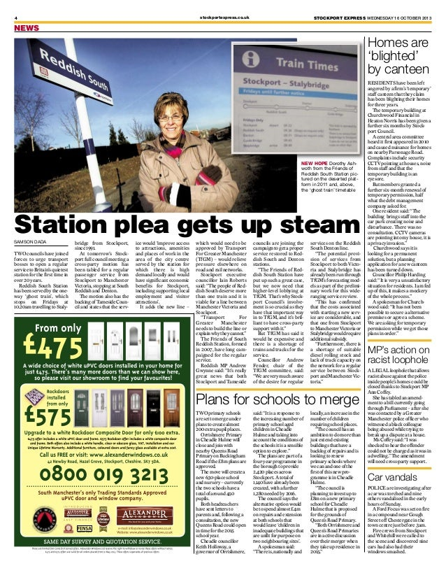 stockportexpress.co.uk  4  STOCKPORT EXPRESS WEDNESDAY 16 OCTOBER 2013  NEWS  Homes are 'blighted' by canteen  NEW HOPE Do...