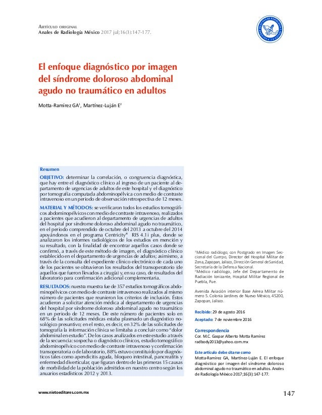 147www.nietoeditores.com.mx artículo original Anales de Radiología México 2017 jul;16(3):147-177. El enfoque diagnóstico p...
