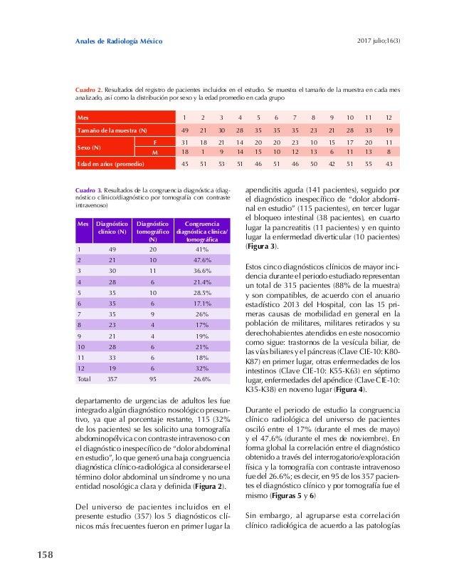 158 Anales de Radiología México 2017 julio;16(3) departamento de urgencias de adultos les fue integrado algún diagnóstico ...