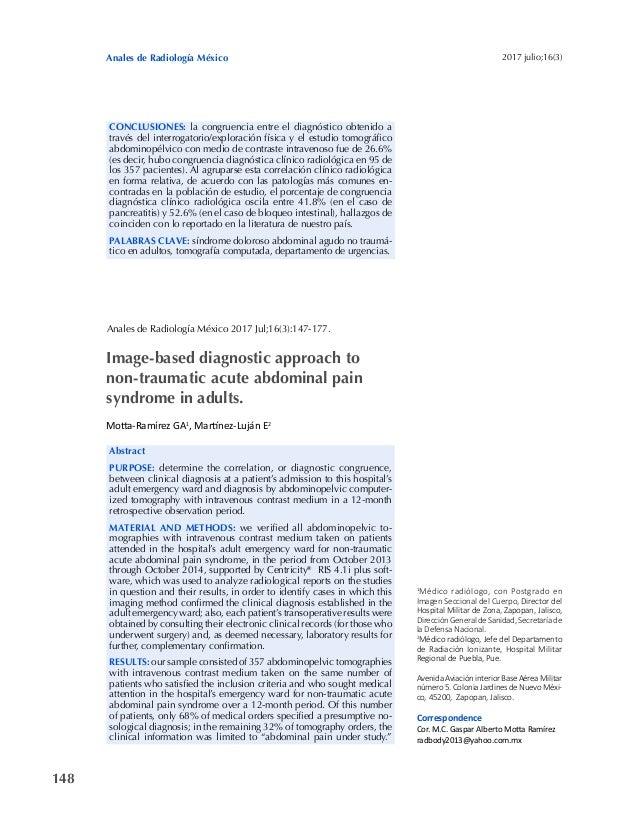 Anales de Radiología México 148 2017 julio;16(3) CONCLUSIONES: la congruencia entre el diagnóstico obtenido a través del i...
