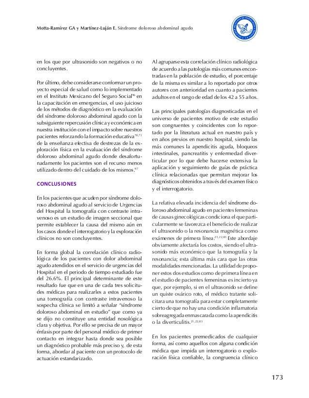 173 Motta-Ramírez GA y Martínez-Luján E. Síndrome doloroso abdominal agudo en los que por ultrasonido son negativos o no c...