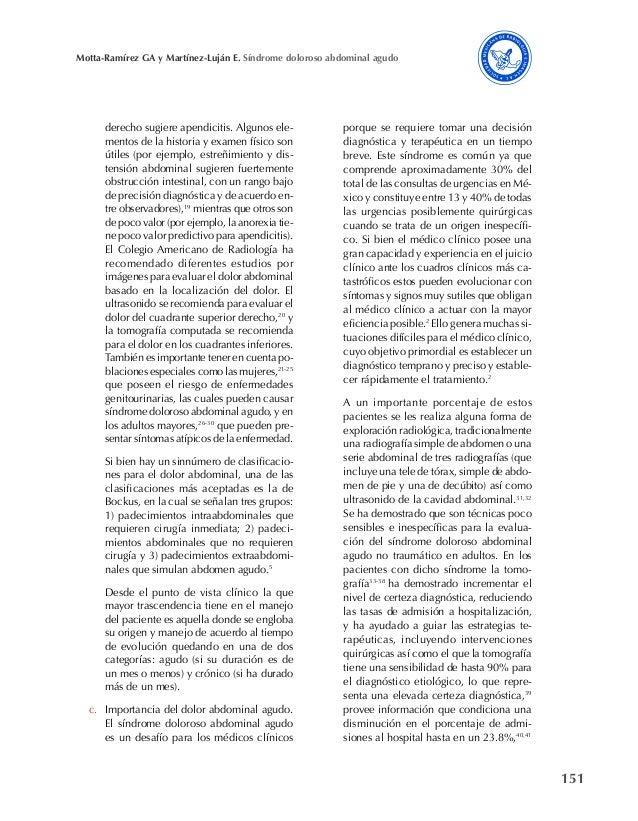 151 Motta-Ramírez GA y Martínez-Luján E. Síndrome doloroso abdominal agudo derecho sugiere apendicitis. Algunos ele- mento...