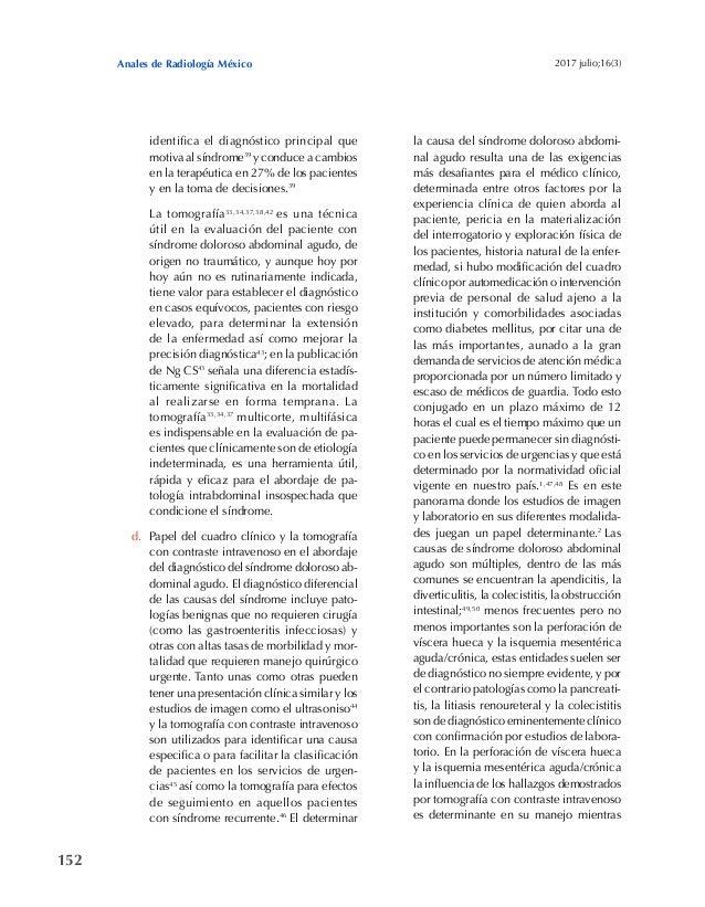 152 Anales de Radiología México 2017 julio;16(3) identifica el diagnóstico principal que motiva al síndrome39 y conduce a ...