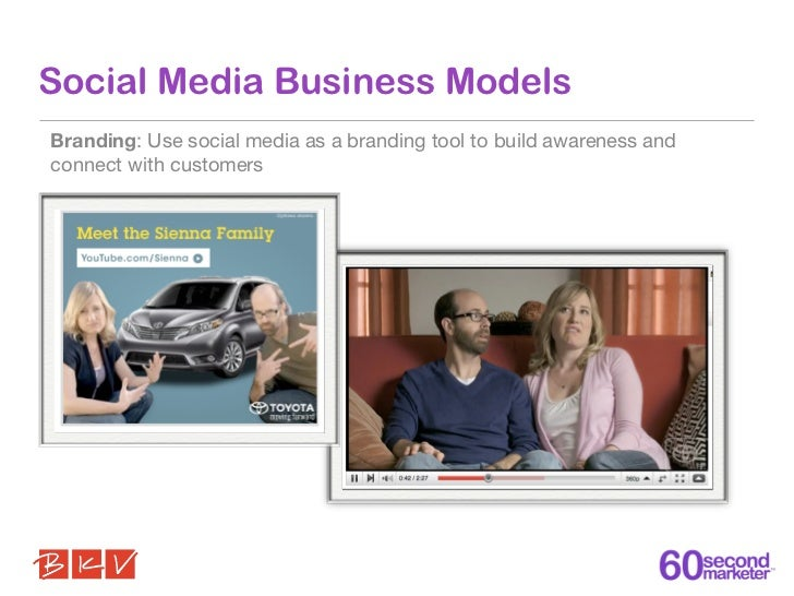 Social Media Business ModelsBranding: Use social media as a branding tool to build awareness andconnect with customers