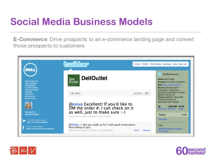 Social Media Business ModelsE-Commerce: Drive prospects to an e-commerce landing page and convertthose prospects to custom...