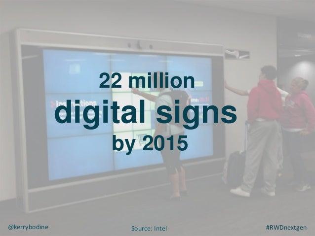 22 million digital signs by 2015 #RWDnextgen@kerrybodine Source: Intel