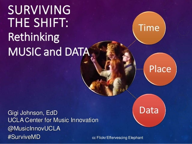 Time Place Data SURVIVING THE SHIFT: 1 Rethinking MUSIC and DATA Gigi Johnson, EdD UCLA Center for Music Innovation @Music...