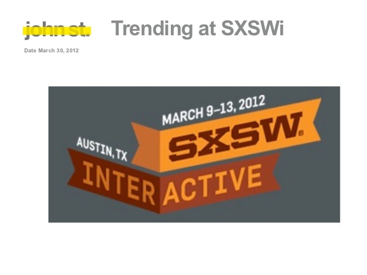 Trending at SXSWiDate March 30, 2012
