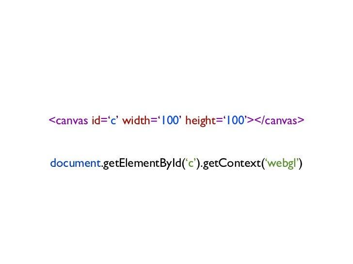 <canvas id='c' width='100' height='100'></canvas>document.getElementById('c').getContext('webgl')