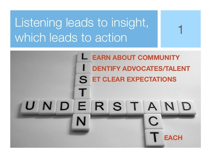 Listening leads to insight,                                       1which leads to action               EARN ABOUT COMMUNIT...