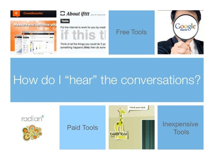 "Free ToolsHow do I ""hear"" the conversations?                                   Inexpensive         Paid Tools             ..."