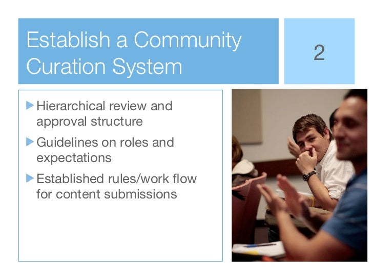 Establish a Community                             2Curation SystemHierarchical review andapproval structureGuidelines on r...