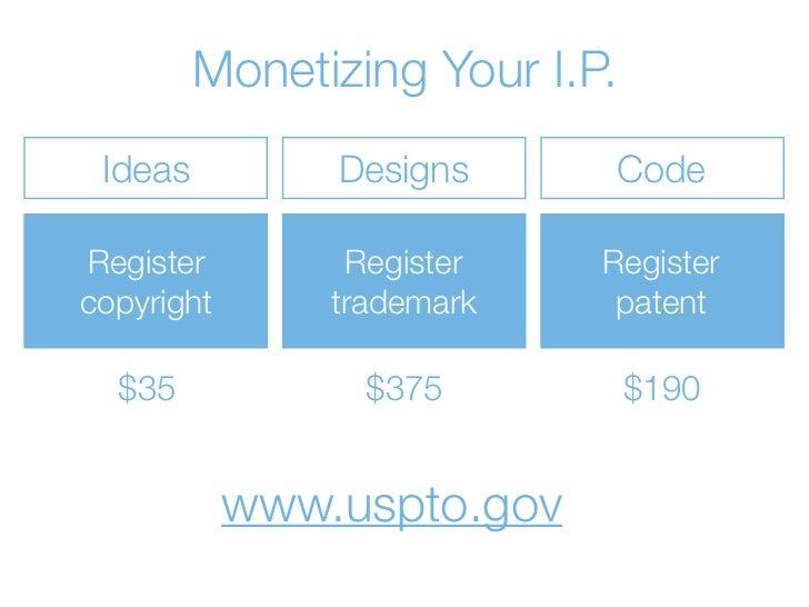 Monetizing Your I.P. Ideas          Designs     CodeRegister         Register   Registercopyright       trademark    paten...