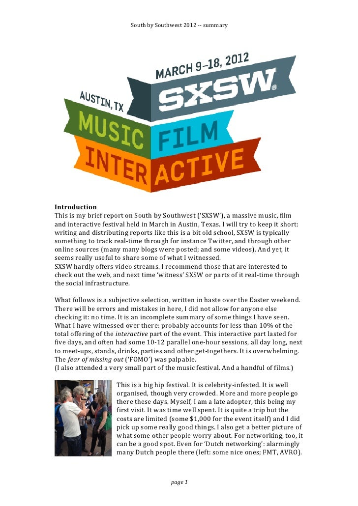 South by Southwest 2012 -‐-‐ summary                                                                        ...