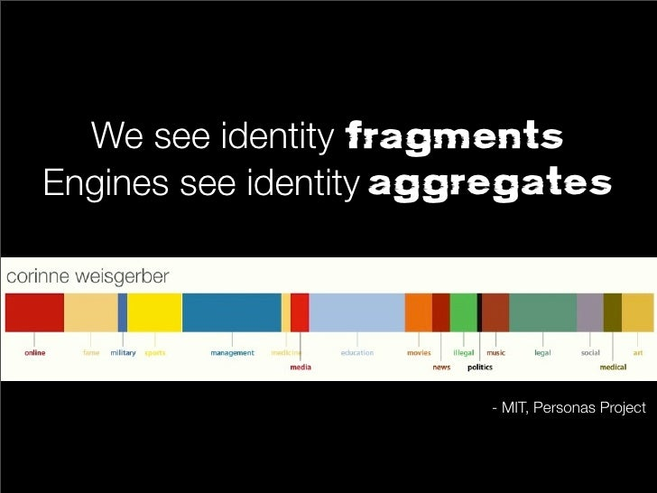 We see identity fragmentsEngines see identity aggregates                        - MIT, Personas Project