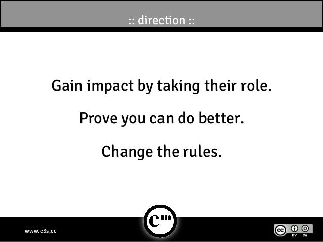 :: direction ::        Gain impact by taking their role.             Prove you can do better.                Change the ru...
